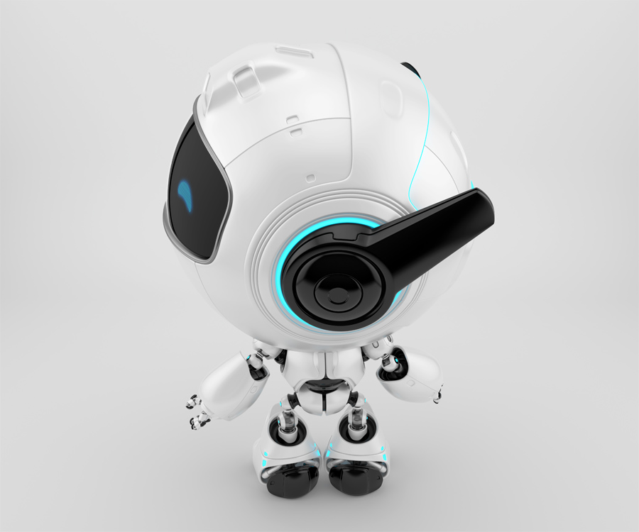 Smart cutan bot in back pose with turned head, looking to the left side. Cute 3d toy rendering