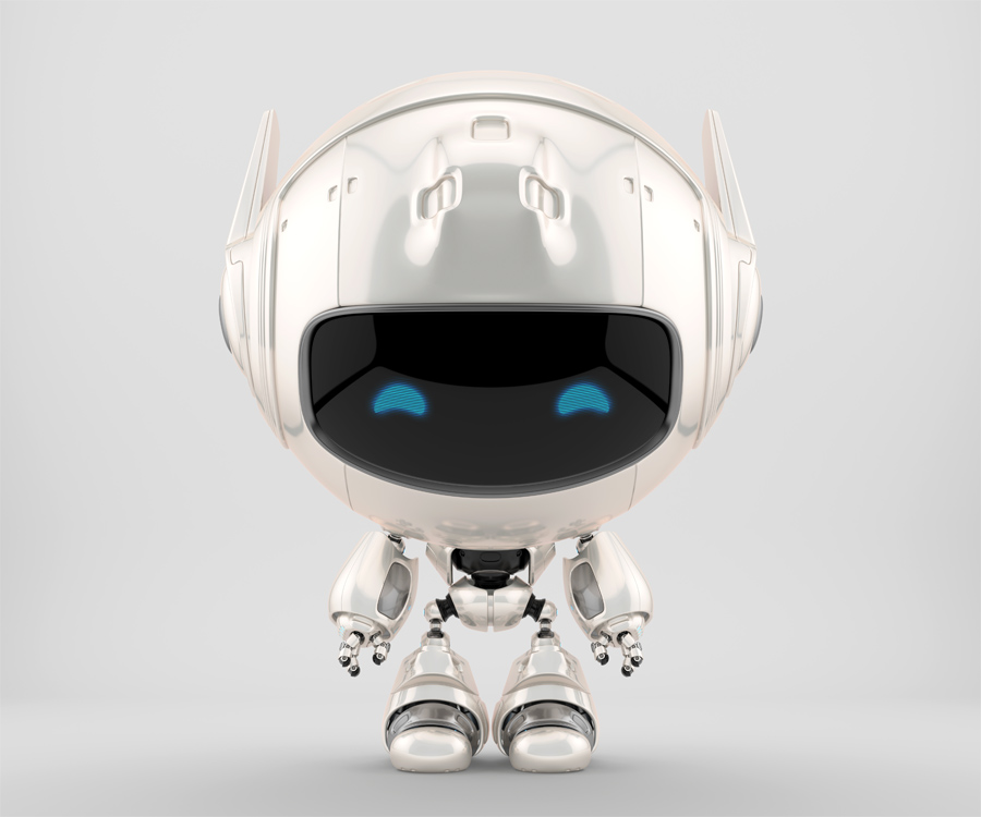 Perl white cutan robot in frontal pose. 3d rendering with extra reflection layer, that could be switched on/off