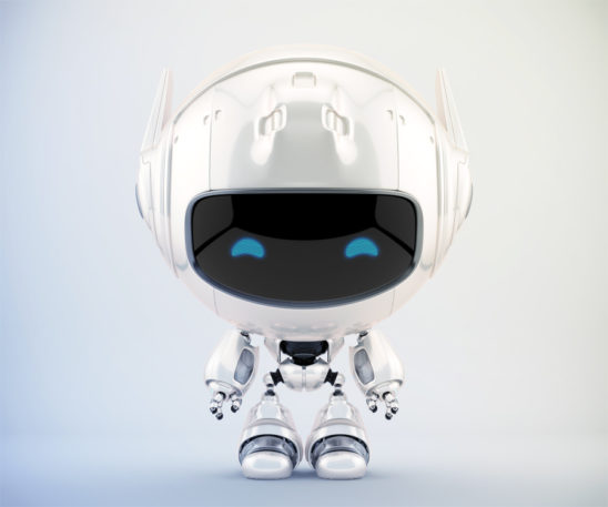 Pearl white cutan robot in frontal pose. 3d rendering with extra reflection layer, that could be switched on/off