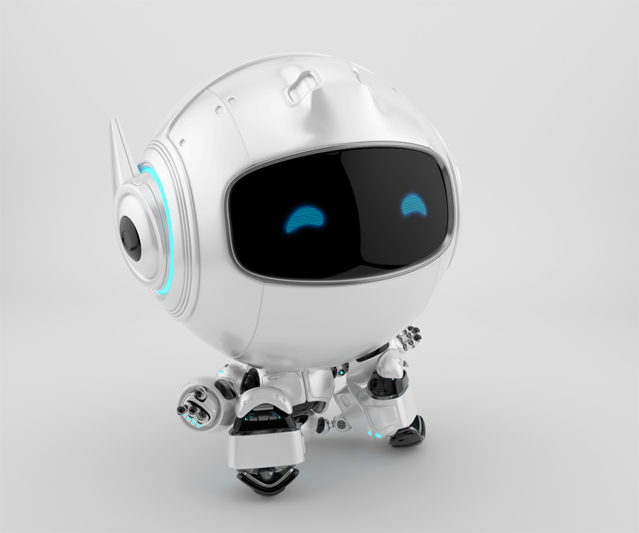 Sitting and resting little cutan robot with digital screen. 3d rendering of lovely robotic toy