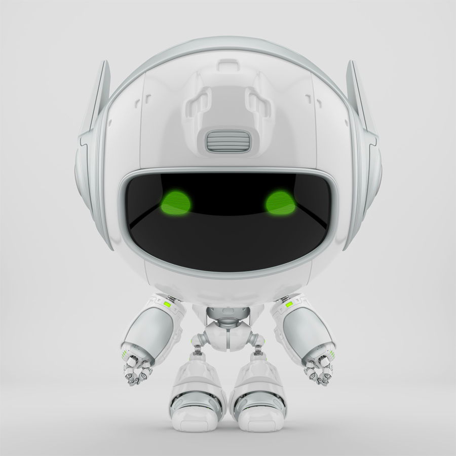Grey-white cutan robot in frontal pose. 3d rendering with extra reflection layer, that could be switched on/off