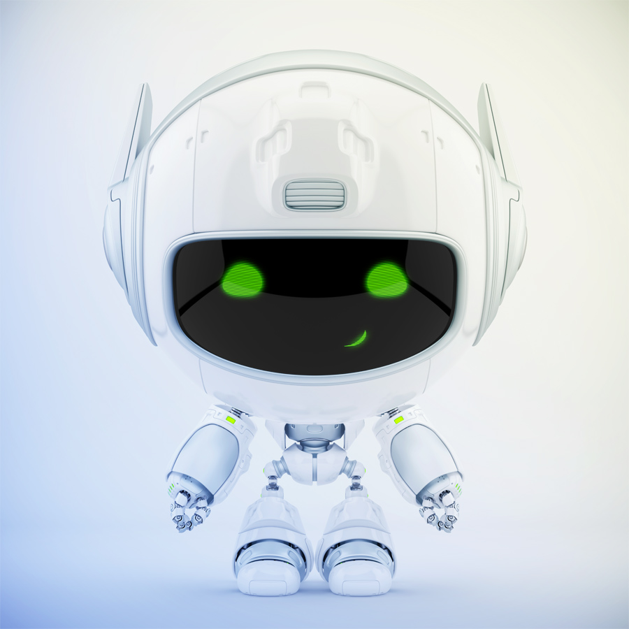 Smiling grey-white cutan robot in frontal pose. 3d rendering with extra reflection layer, that could be switched on/off