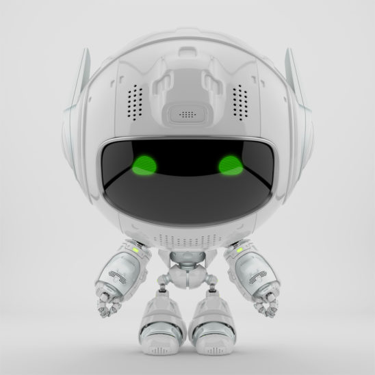 White cutan robot in frontal pose. 3d rendering with extra reflection layer, that could be switched on/off