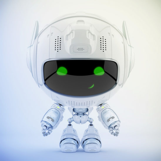 White cutan robot with green digital eyes in frontal pose. 3d rendering with extra reflection layer, that could be switched on/off