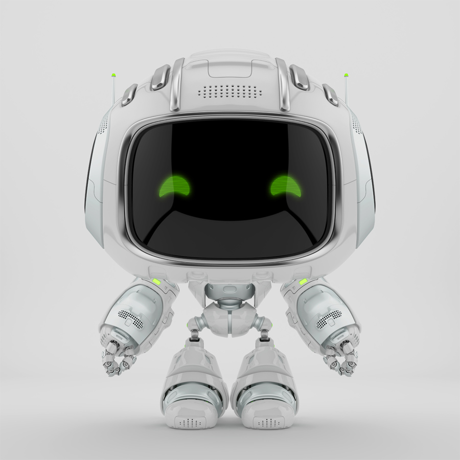 mini unit 9 with green digital eyes, 3d rendering