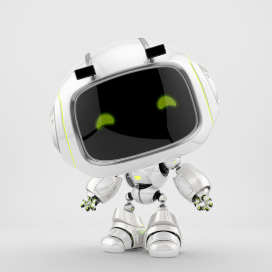 White mini unit 9 with green digital smiling eyes, 3d character rendering with eyebrows