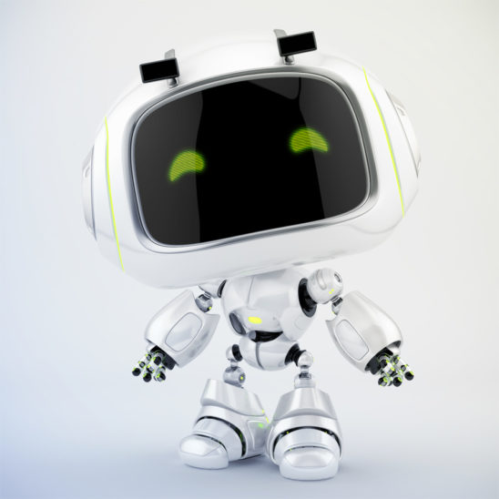 White mini unit 9 with green digital smiling eyes looking at you, 3d character rendering with eyebrows