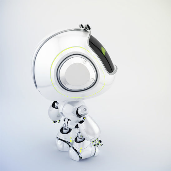 Robotic mini unit 9 toy in side angle with funny eyebrows, 3d rendering