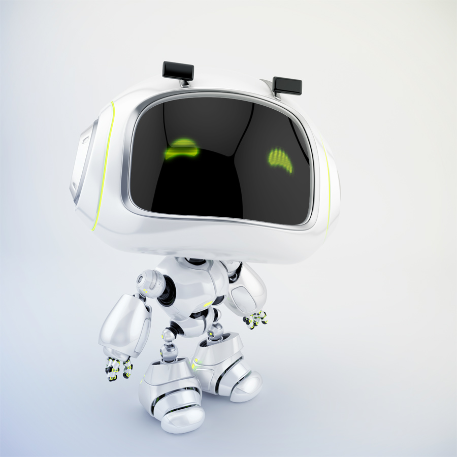 White mini unit 9 with green digital smiling eyes looking up, 3d character rendering with eyebrows