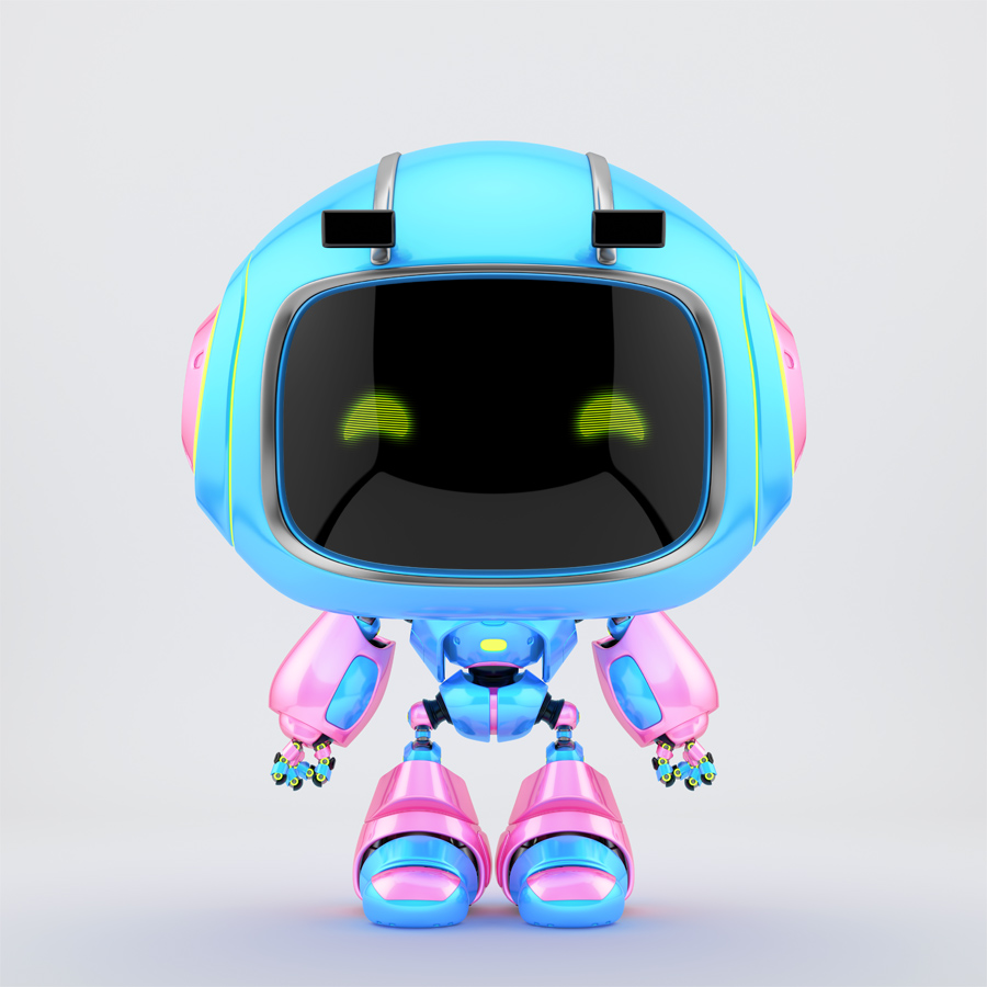 Blue & pink mini unit 9 with green digital eyes, 3d rendering
