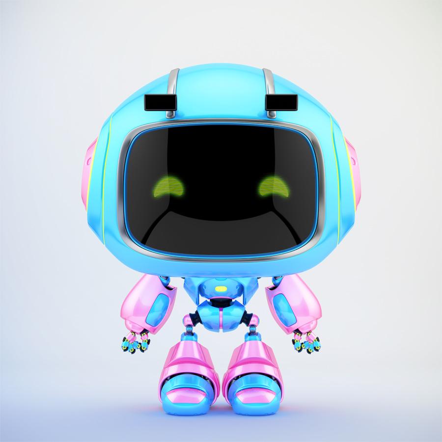 Blue & pink mini unit 9 with green digital eyes, 3d rendering