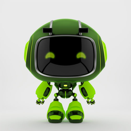Extremely green mini unit 9 with green digital eyes, 3d rendering