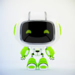 White green mini unit 9 with green digital eyes, 3d rendering