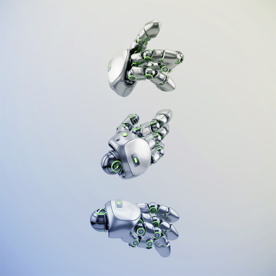 Cute robotic hands in different angles, 3d rendering