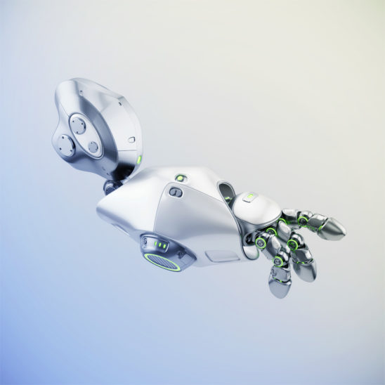 Cute metal pointing robotic arm with green illumination, 3d rendering
