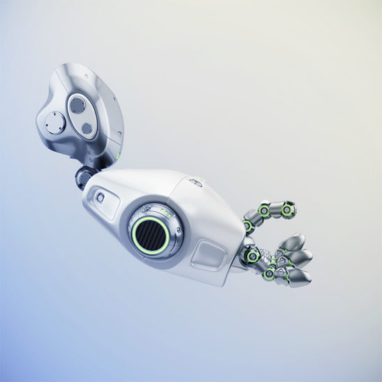 Cute metal robotic arm with green illumination, 3d rendering