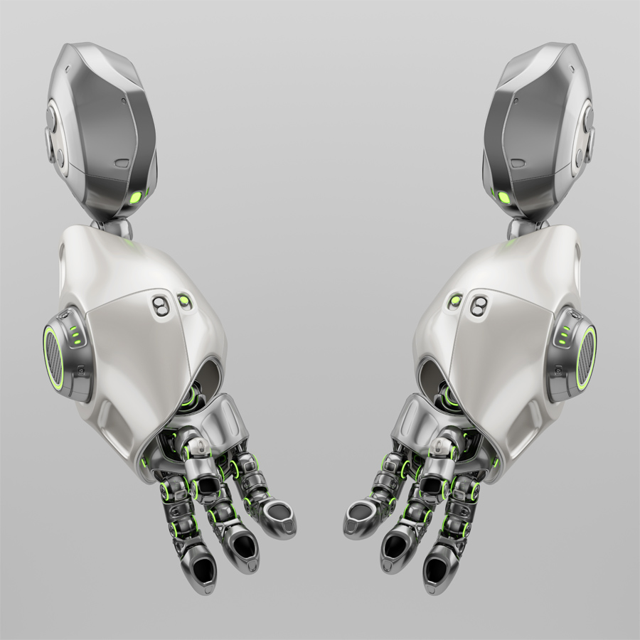 Two cute metal robotic arms with green illumination, 3d rendering