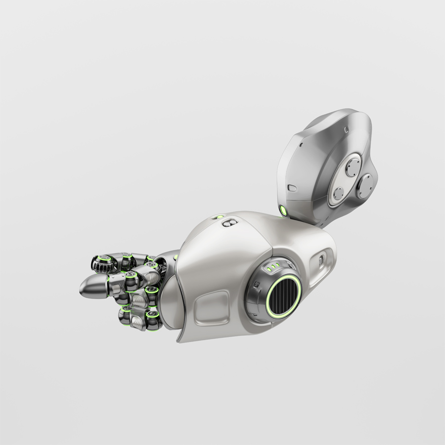 Cute metal pointing with finger robotic arm with green illumination, 3d rendering