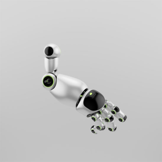 Cute sci-fi silver robotic arm part