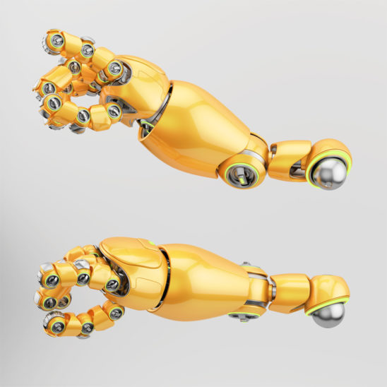 Cute bright orange robotic arms