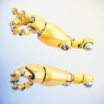 Cute bright orange robotic arms with illumination, 3d rendering