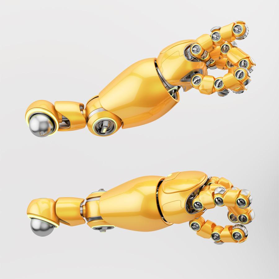 Cute bright orange robotic arms with illumination, 3d rendering