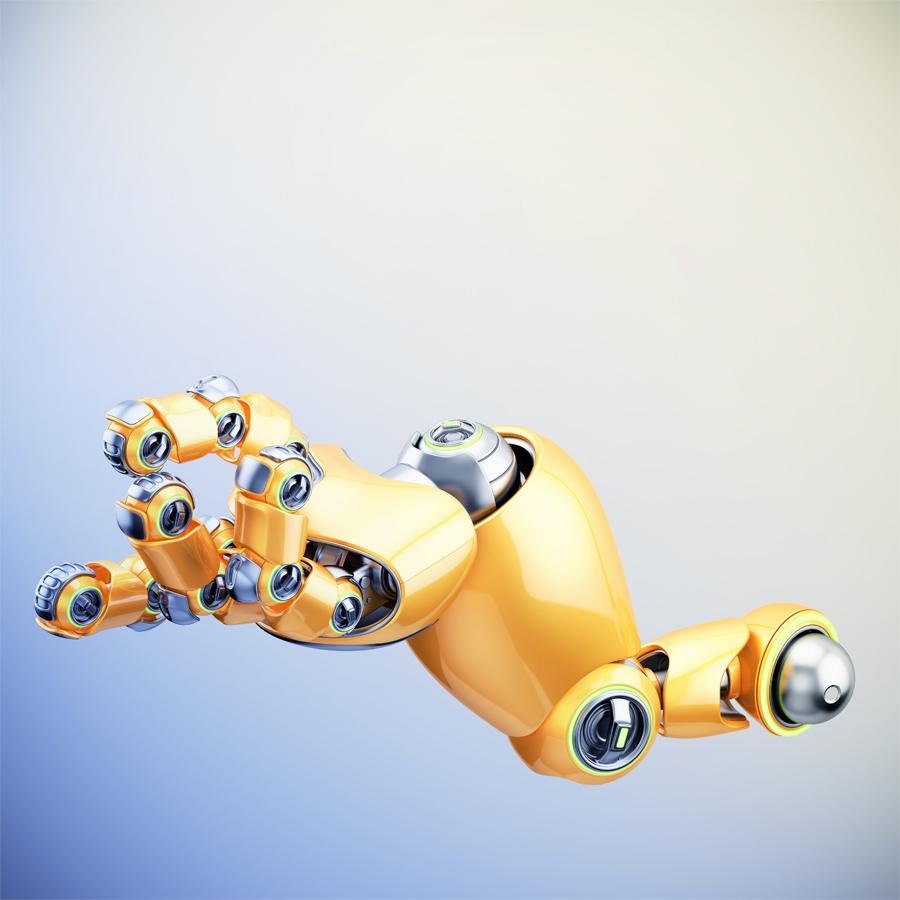 Cartoon orange robotic hand with illumination, 3d rendering
