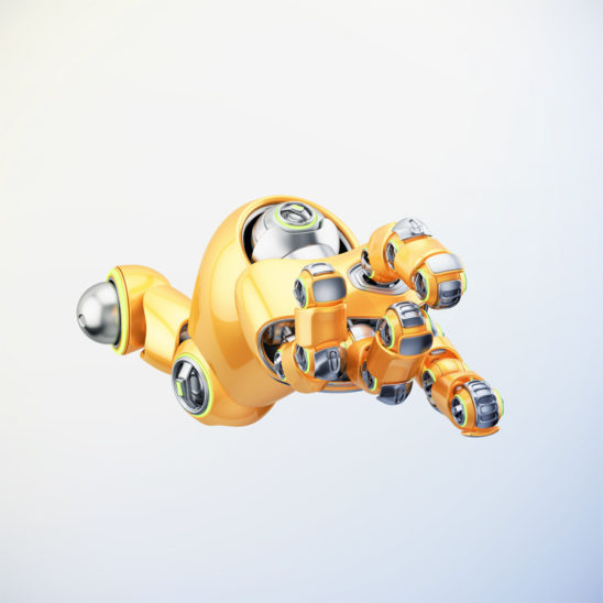 Cartoon orange robotic hand with illumination, 3d rendering
