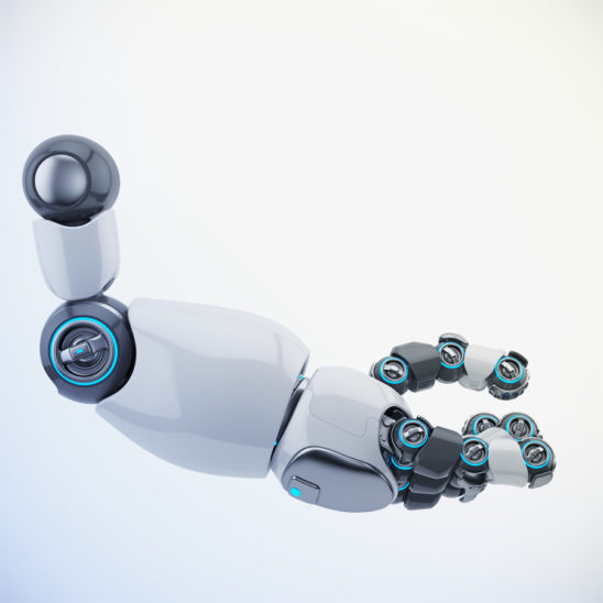 White-grey cartoon robotic arm in side 3d rendering