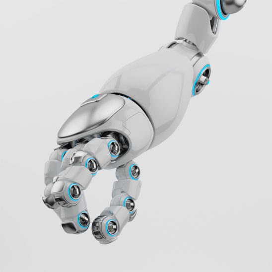 Cartoon robotic arm with silver parts and blue illumination