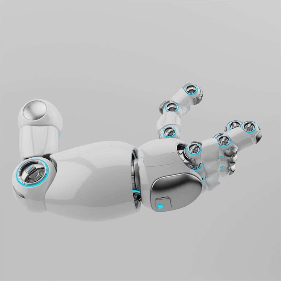 Cartoon white robotic arm with silver parts and blue illumination