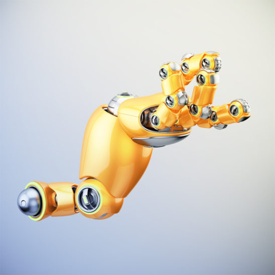 Cartoon orange robotic hand