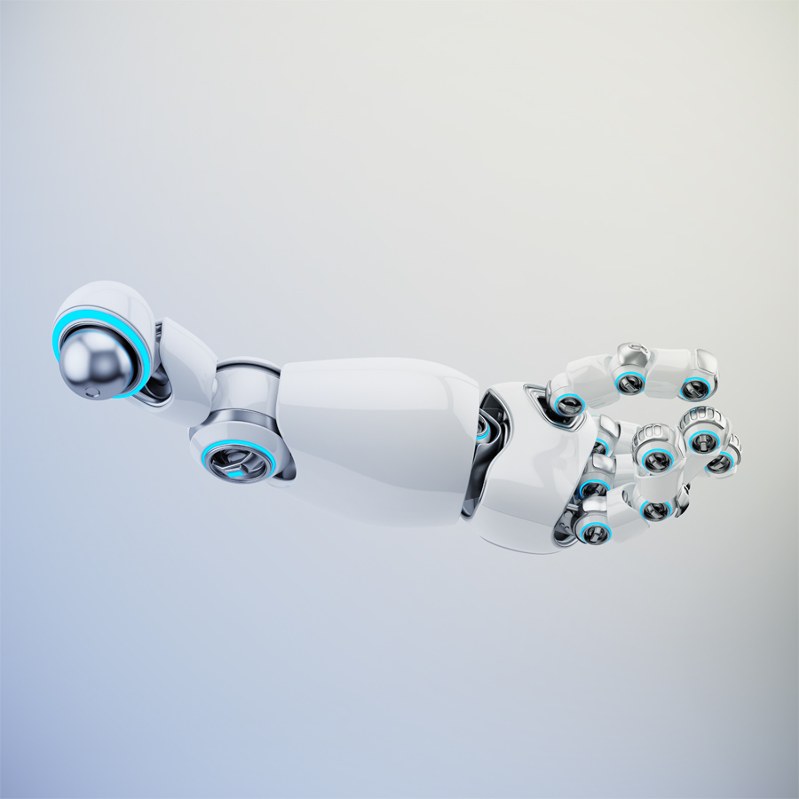 Stretched white cartoon robotic hand 3d rendering. Pointing finger with illuminated parts