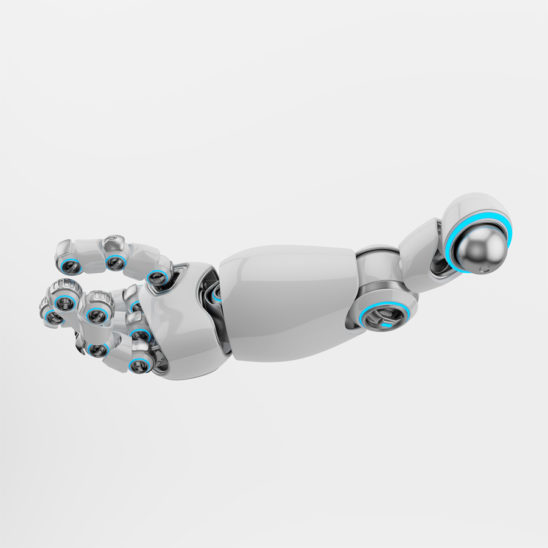 Stretched white cartoon robotic arm 3d rendering. Pointing finger with illuminated parts