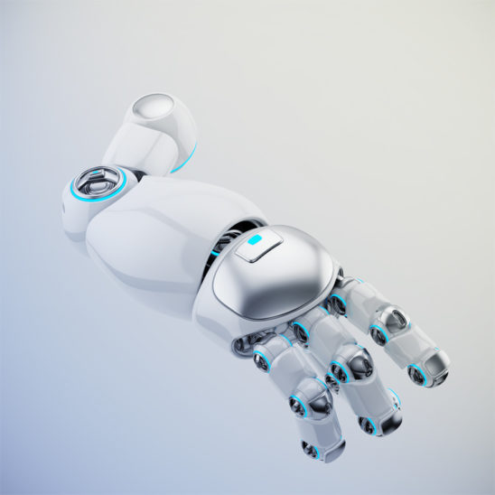 White cartoon robotic arm 3d rendering. Pointing finger with illuminated parts