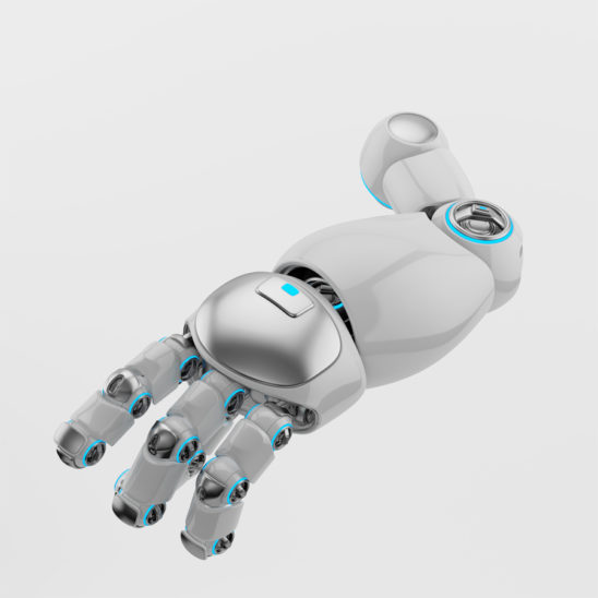 White-silver cartoon robotic arm 3d rendering. Pointing finger with illuminated parts