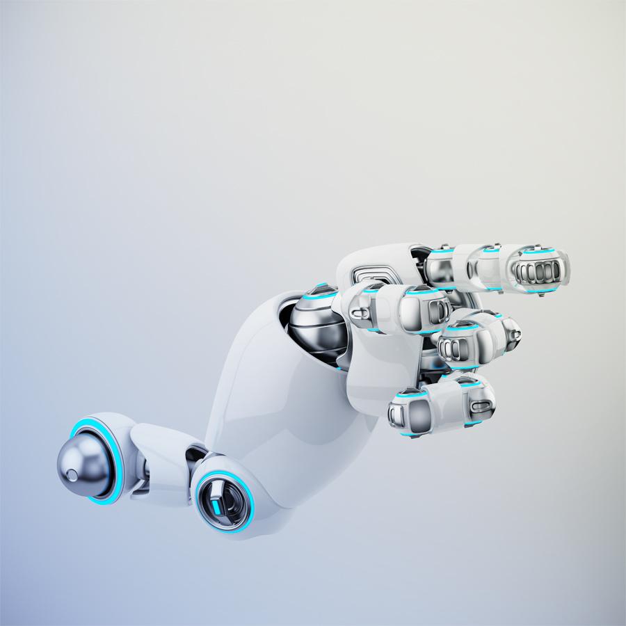 Pointing white cartoon robotic hand
