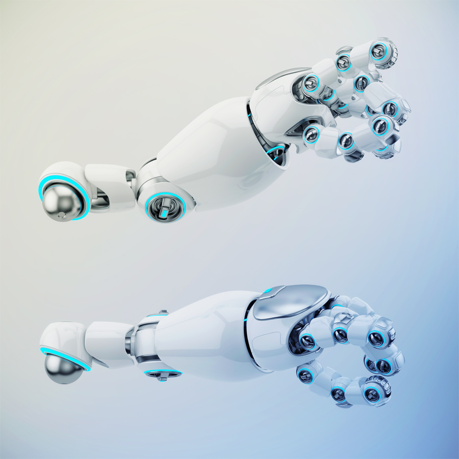 Two pointing white cartoon robotic hand 3d rendering. Pointing finger with illuminated parts