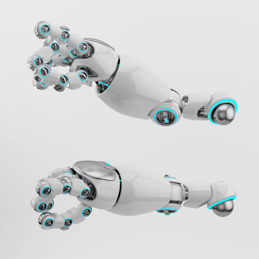 Two pointing white cartoon robotic arms 3d rendering with illuminated parts