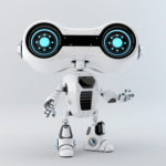 White look-see robot with blue illumination