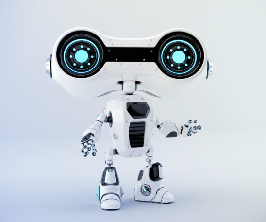 White look-see robot with blue illumination gesturing, 3d rendering
