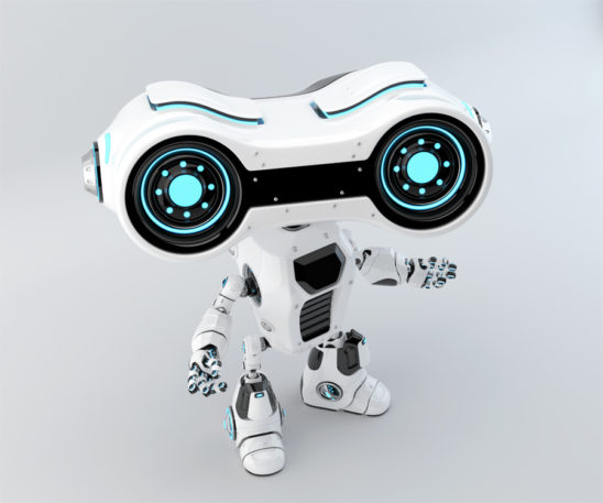 White look-see robot with blue illumination gesturing, upper view 3d rendering