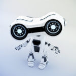 Gesturing white robot look-see with binoculars, 3d rendering