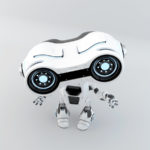 Gesturing white robot look-see with binoculars in upper view, 3d rendering