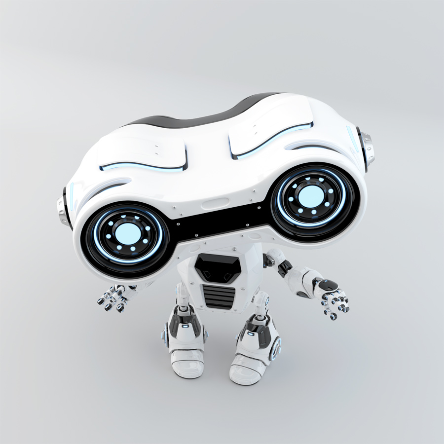 Gesturing white robot look-see with binoculars in upper view, 3d rendering
