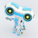 Gesturing light blue robot look-see with binoculars in upper view, 3d rendering