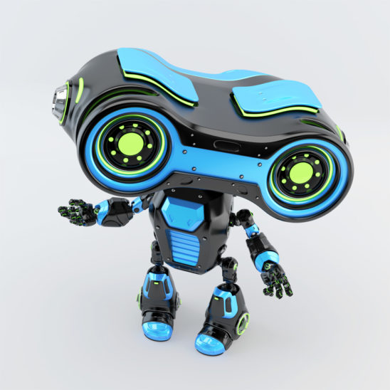 Black-blue robotic toy with look-see head, 3d rendering