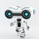 Walking look-see robot with big head binoculars, 3d rendering