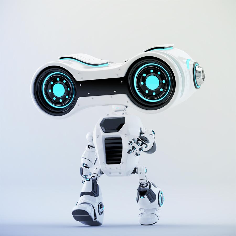 Walking look-see robot with big head binoculars, side 3d rendering