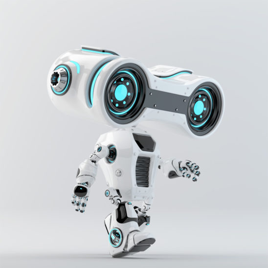 Walking look-see robot with big head binoculars, side 3d rendering
